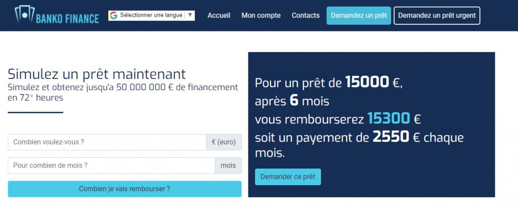 La fausse promesse du taux faible de prêt sur Bankofinancegroup.com