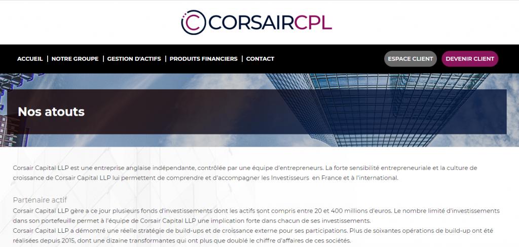 Page ''Nos atouts'' de Corsaircpl.com