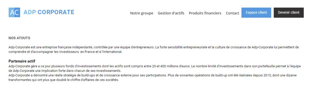 Page ''Nos atouts'' de ADP Corporate identique à celle de Corsaircpl.com