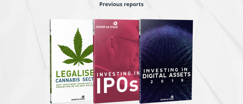 Cover du supposé rapport d'investissement de 2019 sur Investontrend.com