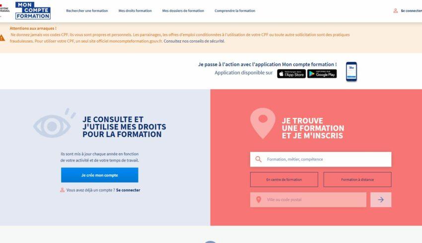 Site internet du site officiel moncompteformation.gouv.fr
