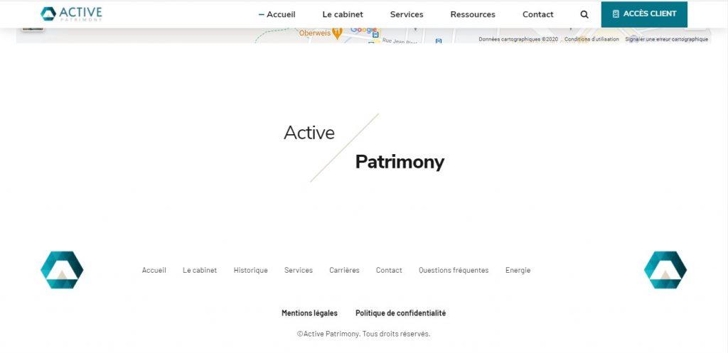 Bas de page de Active-patrimony.com