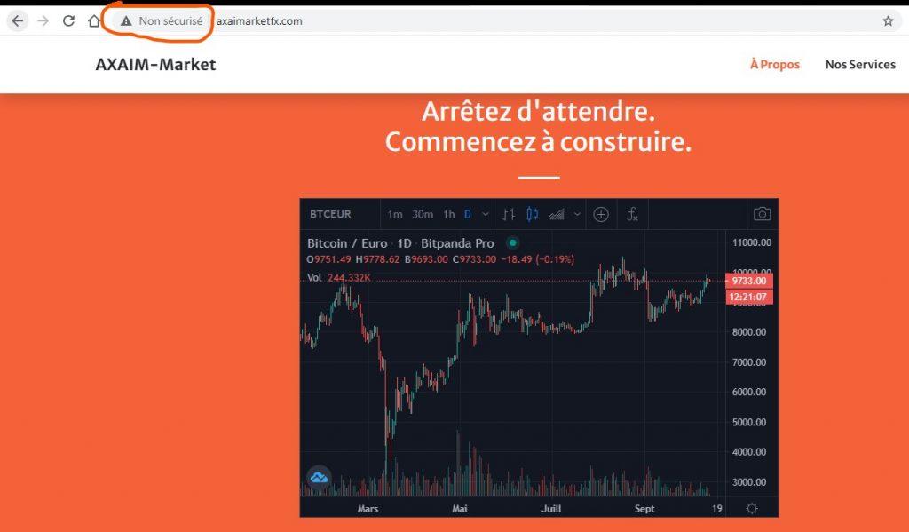 Axaim-marketfx.com : un site non sécurisé