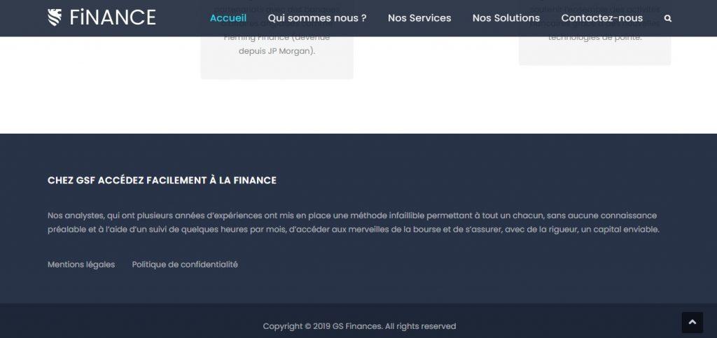 Bas de page sur Gsfinances.fr