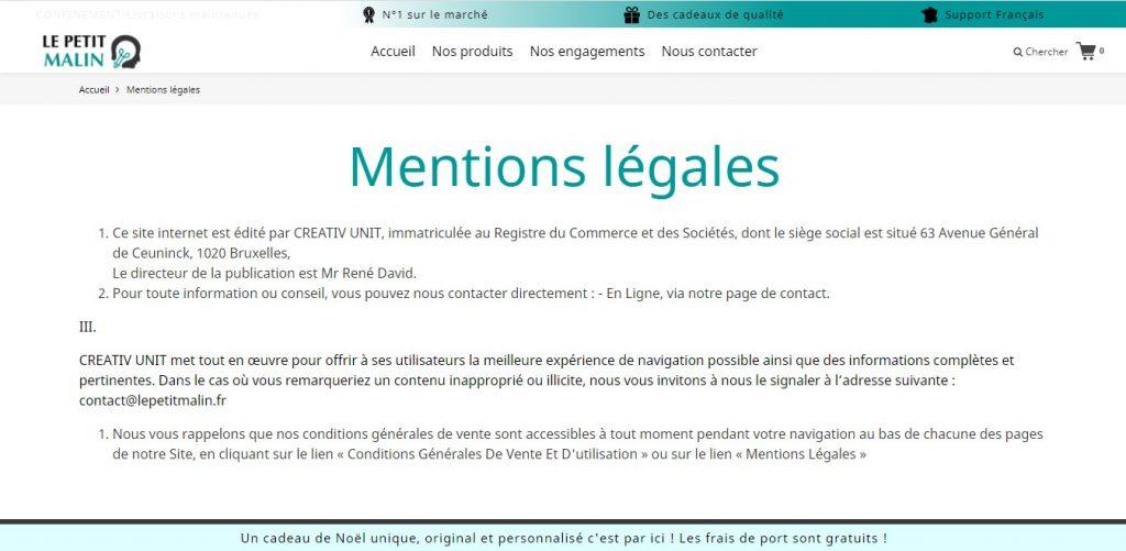 Mentions légales sur Le-petit-malin.fr