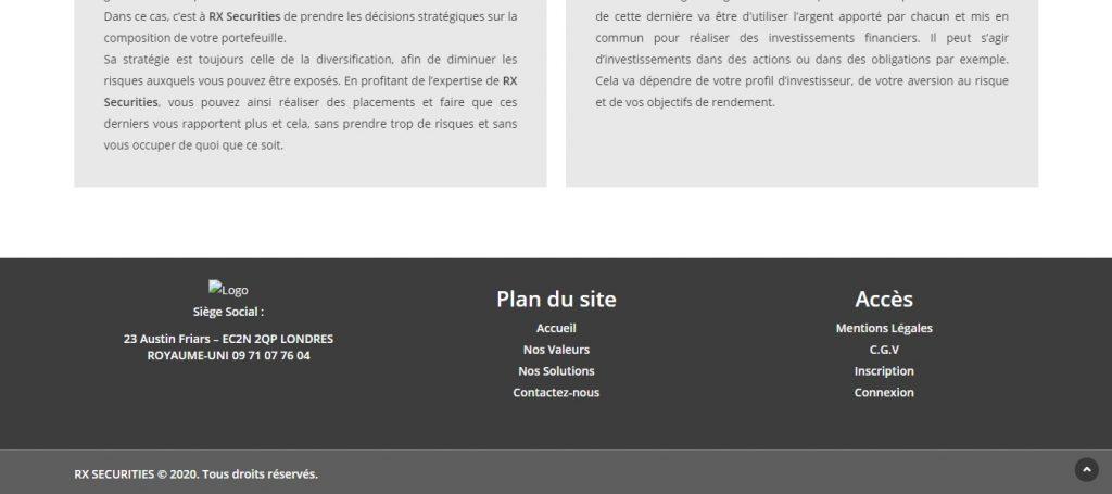Le bas de page de Rx-securities.com