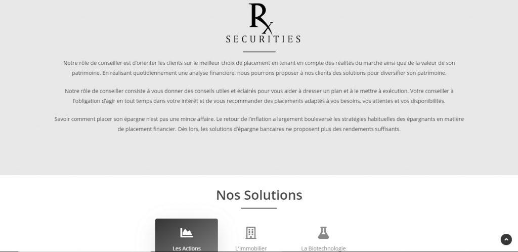 Une page de Rx-securities.com