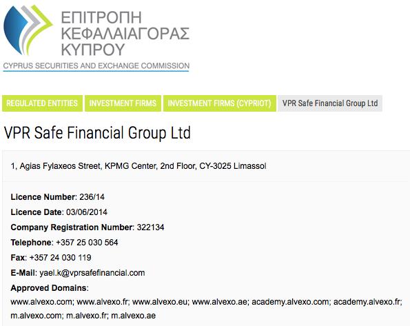 Page de l'autorité chypriote des marchés financiers consacrée à VPR Safe Financial Group