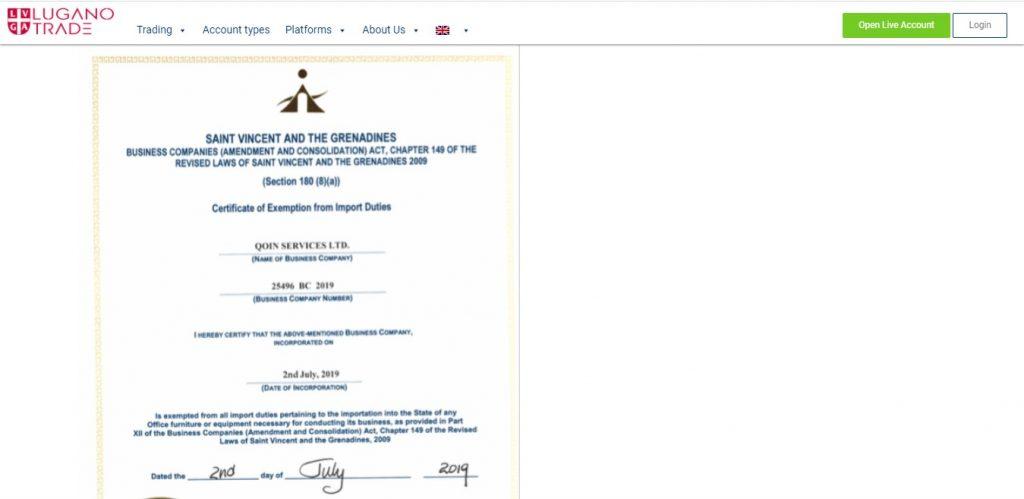 Le document censé prouver que Lugano Trade est enregistré à St Vincent et les Grenadines