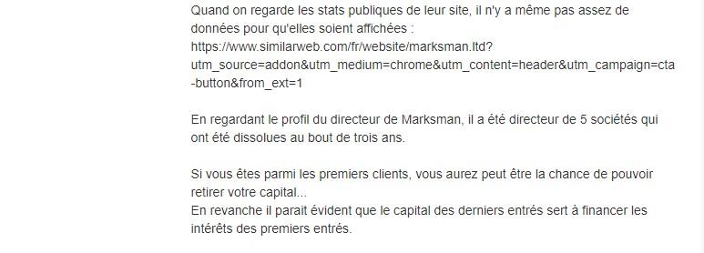 Signalement d'un internaute à propos de Marksman.ltd. Les auteurs de ce site sont les mêmes que ceux derrière Macjonax.com