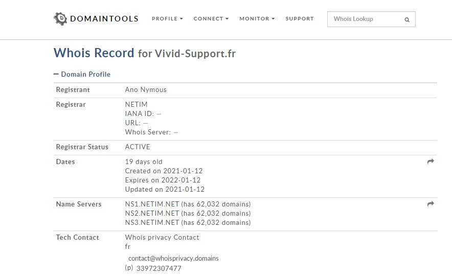 Résultats de l'analyse de l'hébergeur de Vivid-support.fr