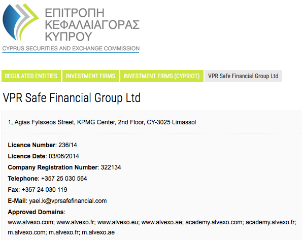 licence VPR Safe financial Group ltd