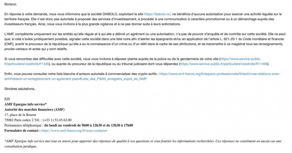 Réponse de l'AMF sur l'interdiction de la plateforme diabolo d'exercer en France une activité d'investissement financier.