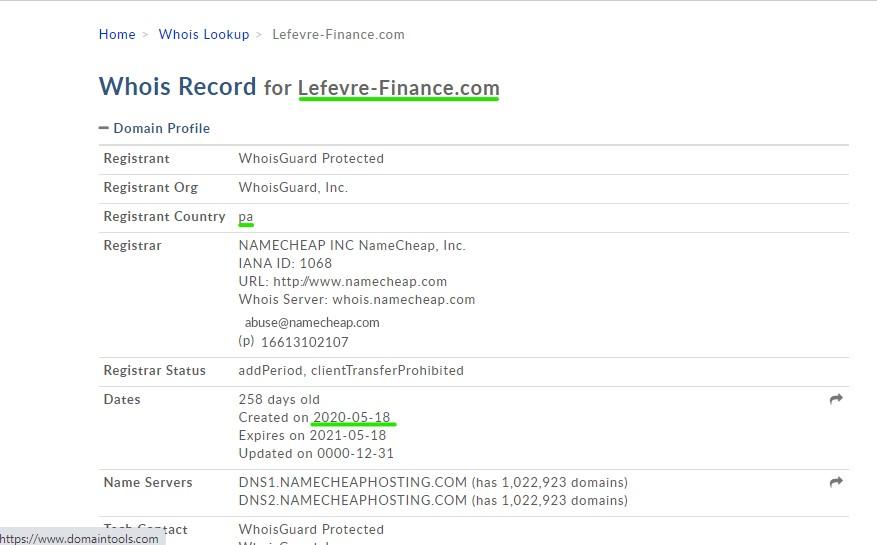 Lefevre-finance.com, un site d'arnaqué lancé le 18 mai 2020.