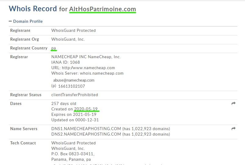 Althospatrimoine.com, un site d'arnaque lancé au lendemain de la création de Lefevre-finance.com.