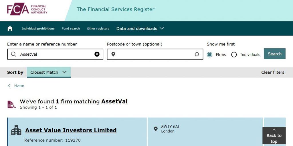 Contrairement à ce que dit Assetval.com, AssetVal n'existe pas dans le registre de la FCA.