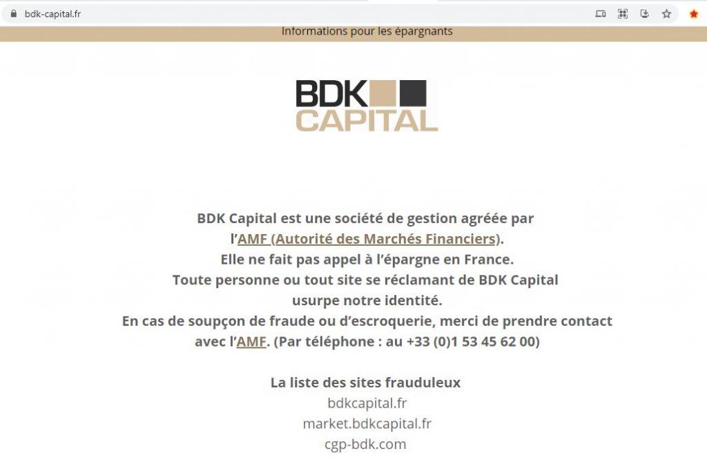 BDK Capital annonce qu'elle est victime d'usurpation d'identité  Cgp-bdk.com
