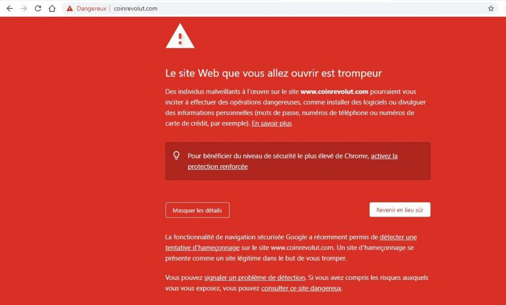 La page en rouge qui s'affiche sur Google lorsqu'on essaie de se rendre sur Coinrevolut.com.