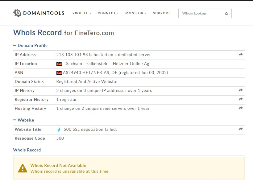 Sur Finetero.com, on manque d'informations. On n'ignore tout sur les personnes qui ont créé le site.
