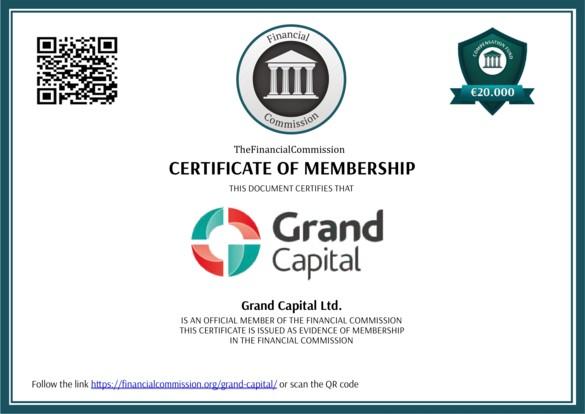 Fr.grandcapital.net présente un supposé certificat délivré par la Financial Commission. Étrangement, ce certificat ne porte aucune signature.