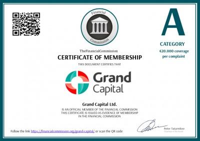 Le certificat de Grand Capital qu'on retrouve sur le site de la Financial Commission. Il est différent du certificat que présente Fr.grandcapital.net.
