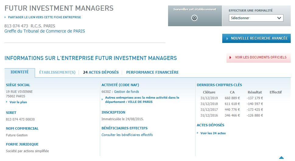 Dans le registre de l'Infogreffe, Futur Investment Managers existe. Mais ce n'est clairement pas cette entreprise qui pilote Futur-investment.com.