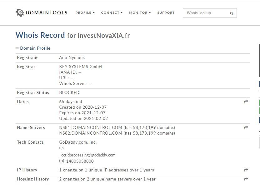 Le serveur de Investnovaxia.fr est entièrement anonyme. Il est évident que le site est une arnaque.
