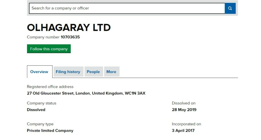 A la Companies House, Olhagaray LTD n'existe plus, elle est dissolue. Elle n'est donc pas derrière Ltc-crypto.com.