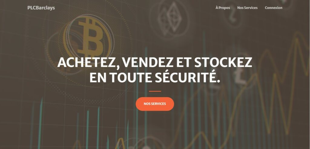 « Achetez, vendez et stockez en toute sécurité ». La phrase d'invitation sur Plcbarclays.com.