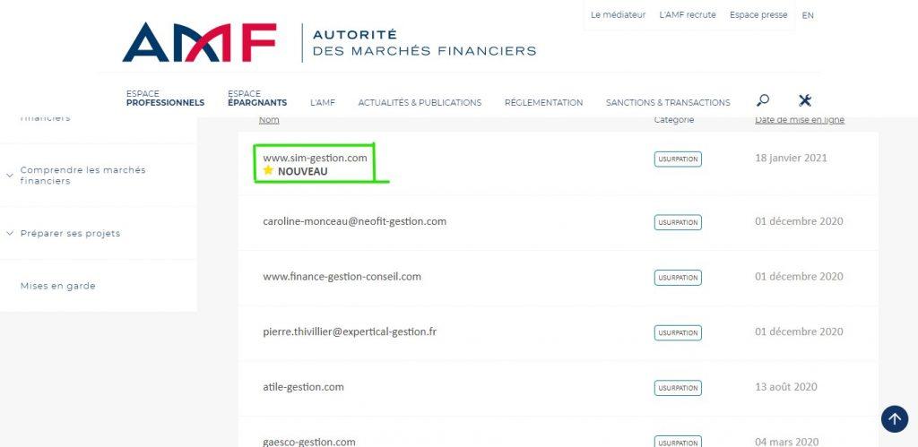Sim-gestion.com a été ajouté à la liste noire de l'AMF, le 18 janvier 2021.