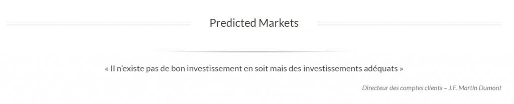 J.F Martin Dumont de Streetanalysts.com à Predicted Markets