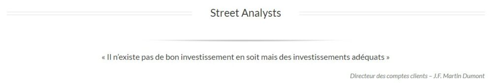 J.F Martin Dumont de Streetanalysts.com