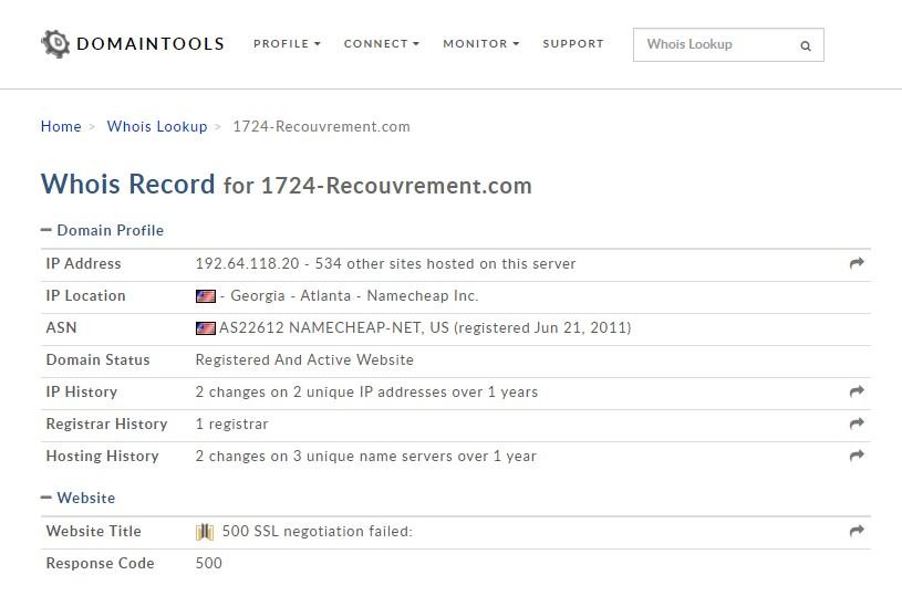 Le WHOIS de 1724-recrouvement.com couve bien nos doutes. Pas d'informations sur les créateurs de la plateforme. Bizarre !