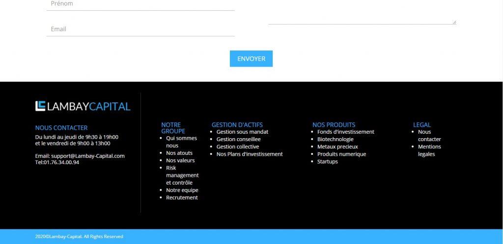 Le texte sur la page ''Qui sommes-nous ?'' de Lambay-capital.com est la parfaite réplique de celle de plusieurs autres plateformes, dont Ahp-management.com et Adp-corporate.com.