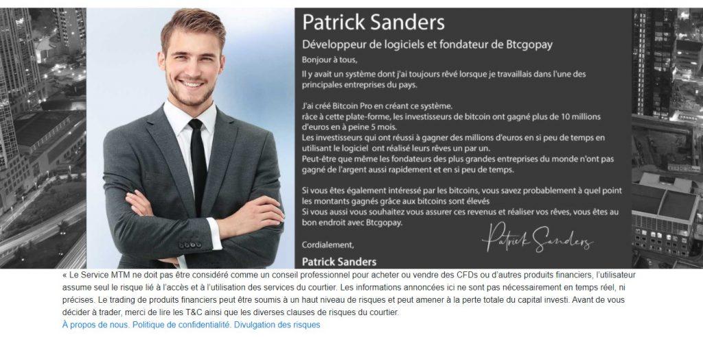 Patrick Sanders, le bel homme qui serait derrière la machine de Landing.marketstm.com/fr/mtm7_btc_safe_b2go_fr. Bien entendu, c'est un mensonge.