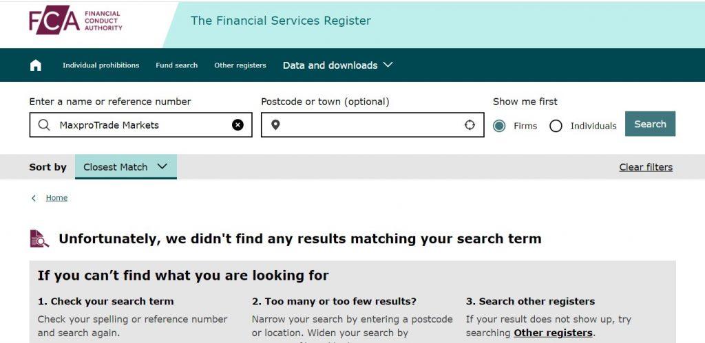 La FCA ne reconnait pas une firme dénommée MaxproTrade Markets. Donc, le site Maxprotrade.com ment quand il avance un numéro d'immatriculation.