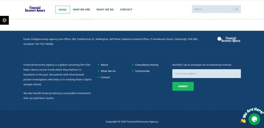 Recovery-agency.com, un site sans mentions légales qui propose de recouvrer des fonds perdus.