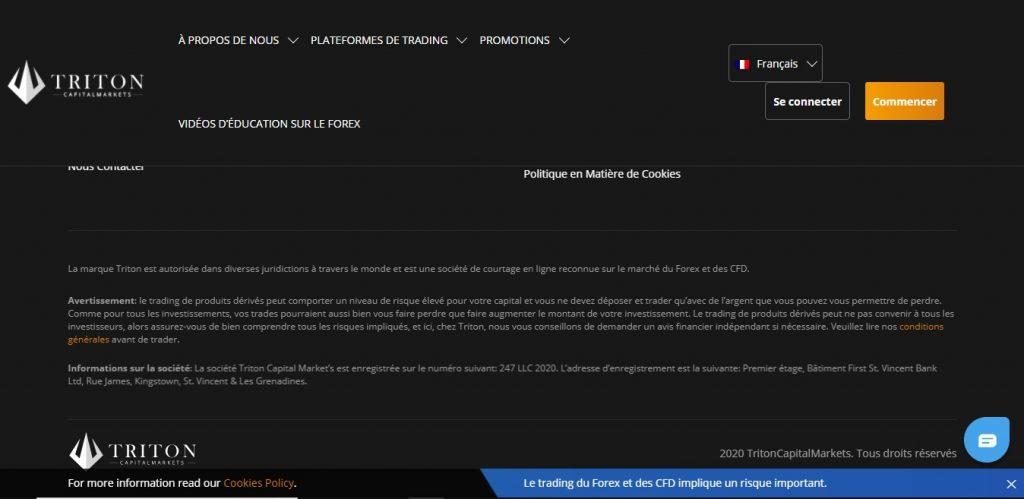 Bas de page de Tritoncapitalmarkets.fr