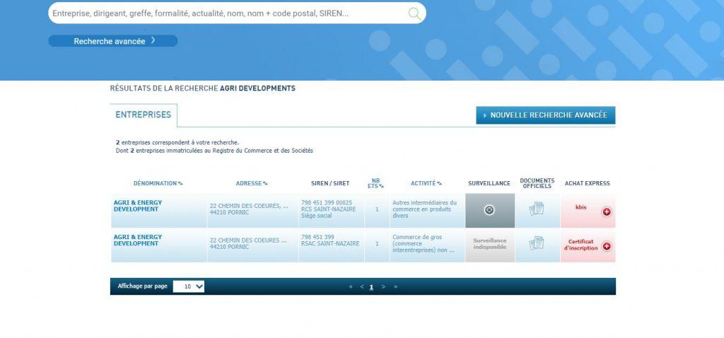 L'Infogreffe ne reconnait pas la société Agri Developments dont parle Agridevelopments.com.