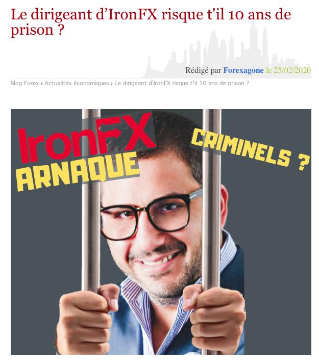Capture d'écran d'un montage réalisé par le site Forexagone du patron d'IronFX, Markos Kashiouris, présenté derrière les barreaux d'une cellule de prison