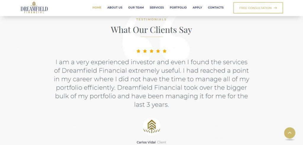 Les commentaires sur Dreamfieldfinancial.com donnent l'impression que le site est fiable.