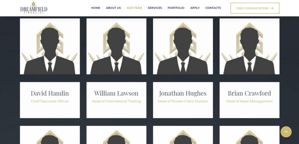 Les noms des supposés membres de la firme qui piloterait Dreamfieldfinancial.com. Souci : il n'y a que des noms, pas de photos pour présenter ces personnes.