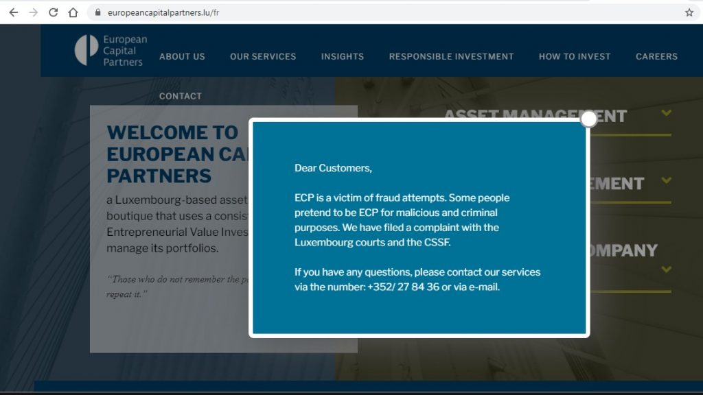 European Capital Partners informe qu'elle est victime d'une usurpation d'identité. Le site usurpateur ? Europeancapitalpartners.fr.