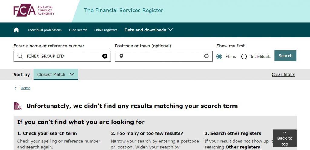 La FCA ne reconnait pas Finex Group LTD, la deuxième firme dont parle Exfinances.com.