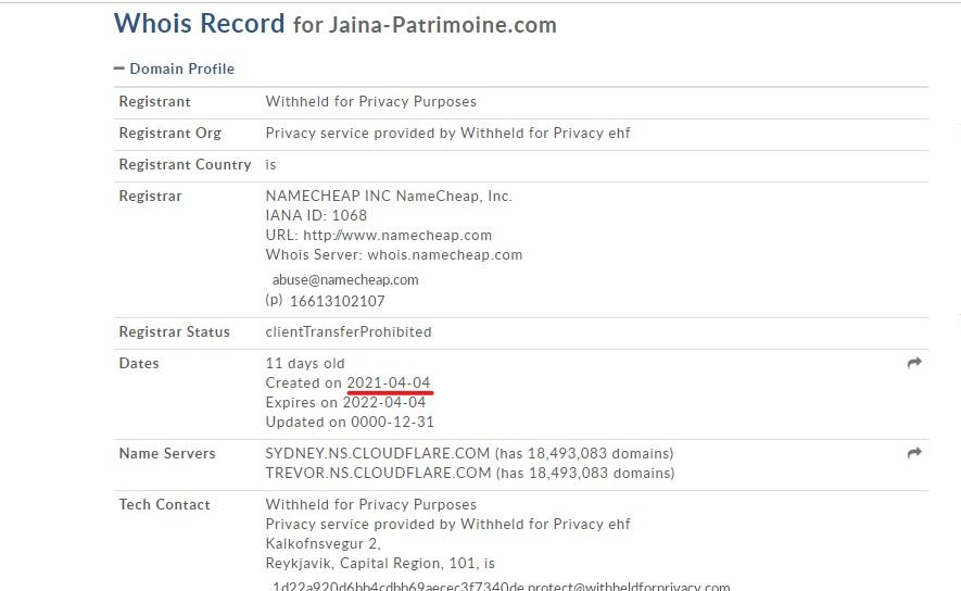 Le WHOIS de Jaina-patrimoine.com nous permet de confirmer que le site n'a pas été créé en 2019.