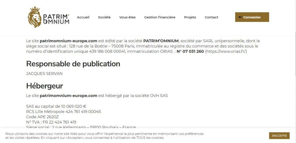 Les informations qu'avance Patrimomnium-europe.com sur sa page des mentions légales.