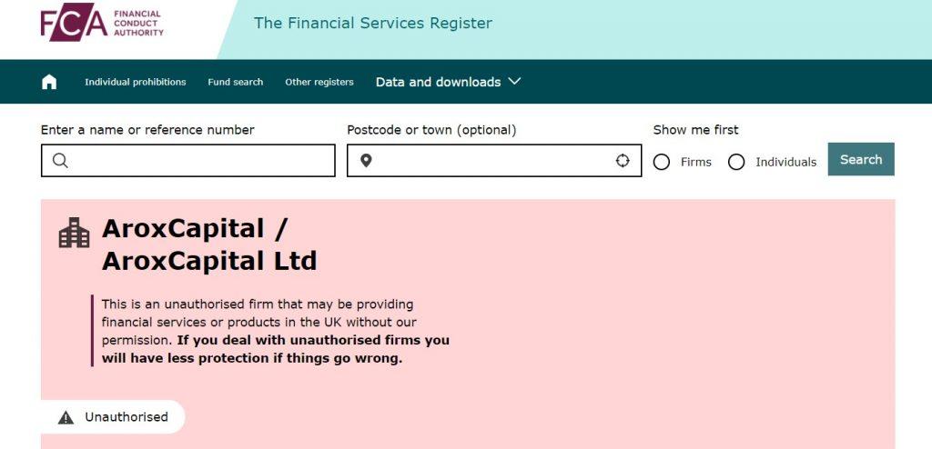 La FCA recommande de ne pas avoir une affaire en cours avec les individus derrière AroxCapital ou AroxCapital LTD ou Aroxcapital.com.