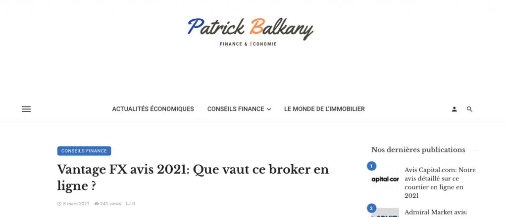 Patrick Balkany publicité Vantage FX