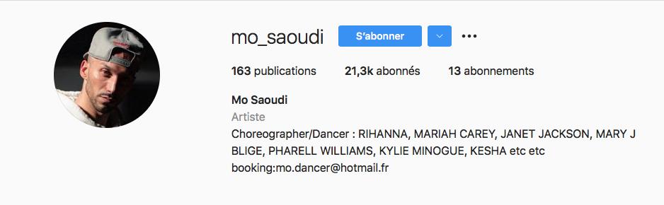 Capture d'écran du profil Instagram de Mo Saoudi.
