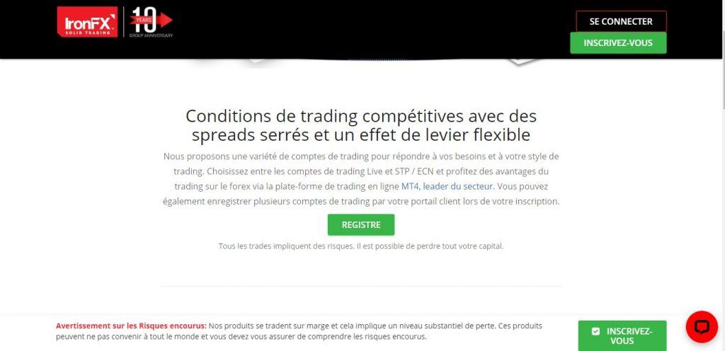 IronFX dit proposer « une variété de comptes de trading pour répondre à vos besoins